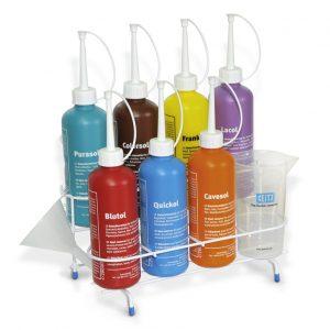 spotting set bottles in a rack